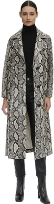 Stand Mollie Printed Faux Leather Trench Coat