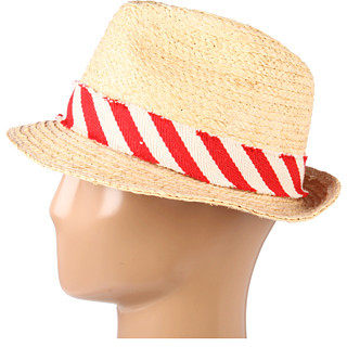 Hat Attack Raffia Classic Fedroa W/Stripe Band Trim