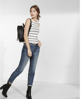 Express striped sleeveless ribbed crew neck sweater