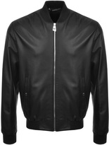 Versace Leather Bomber Jacket Black