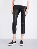 Brunello Cucinelli Cropped leather skinny trousers