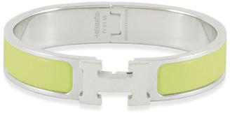 Hermes Narrow Clic H Bracelet (Light Green Yellow/Palladium Plated) - PM