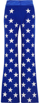Gareth Pugh Embroidered Wool-blend Flared Pants - Royal blue