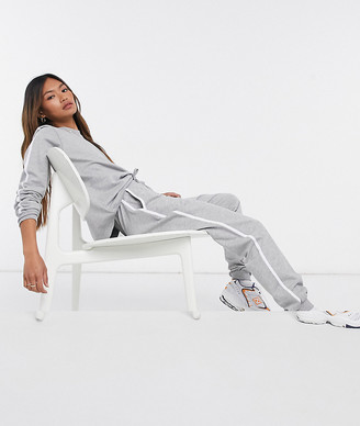 ASOS DESIGN tracksuit sweat / basic jogger with tie with contrast binding in gray marl