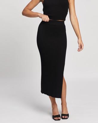 Atmos & Here Atmos&Here - Women's Black Midi Skirts - Sara Split Midi Knit Skirt - Size S at The Iconic