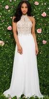 Jovani Embellished Halter Chiffon Prom Dress