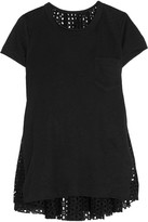 Sacai Oversized Stretch-linen And Broderie Anglaise Top - Black