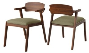Handy Living Millie Mid Century Modern Cherry Dining Arm Chair with Wood Seat Back Set of 2