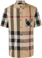 Burberry checked shortsleeved shirt - men - Cotton/Spandex/Elastane/Polyimide - S