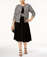 Jessica Howard Plus Size Fit and Flare Dress and Printed Jacket