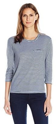 Stateside Women's Supima Slub Skinny Navy Stripe 3/4