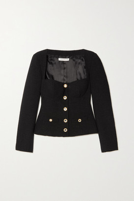 Alessandra Rich Crystal-embellished Wool-blend Tweed Jacket - Black