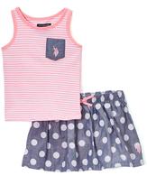 U.S. Polo Assn. Prism Pink Stripes & Dots Skort - Infant & Toddler