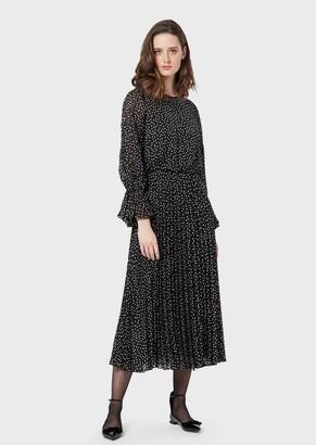Emporio Armani Crepon Long Dress With Polka Dot Jacquard Motif