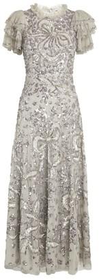 Needle & Thread Sequin-Embellished Shirley Ribbon Midi Dress