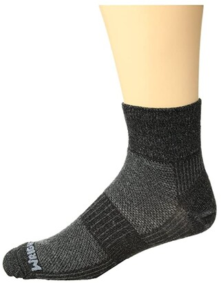 Wrightsock Merino Coolmesh II Quarter (Grey/Black) Crew Cut Socks Shoes