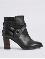 M&S Collection Wide Fit Leather Block Heel Ankle Boots