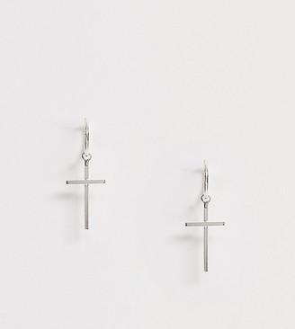 Kingsley Ryan Exclusive sterling silver mid cross drop hoop earrings