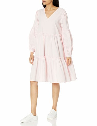 The Drop Women's Jade Loose Balloon Long Sleeve Tiered Poplin Dress