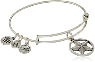 "Alex and Ani Armed Forces"" Star of Strength Expandable Silver Wire Bangle Charm Bracelet"