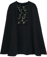 Giambattista Valli Convertible Guipure Lace-paneled Crepe Dress - Black