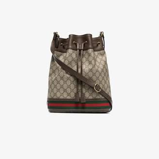 Gucci brown GG logo bucket bag