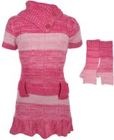 """Dollhouse Big Girls' """"Ruffled Knit"""" Sweater Dress with Gloves - , 14-16"""