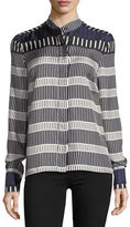 Diane von Furstenberg Long-Sleeve Striped Cuffed Button-Down Satin Shirt