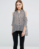 AX Paris Striped Cut Out Shoulder Shirt