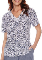 Alfred Dunner St. Augustine Short-Sleeve Monotone Print Top