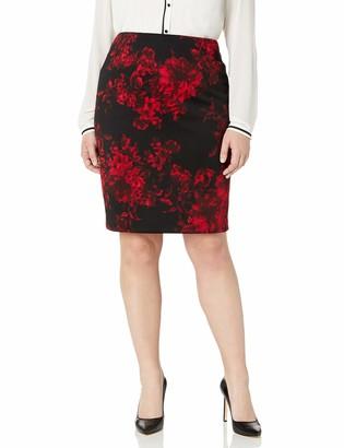Kasper Women's Plus Size Printed Slim Skirt