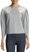 Rebecca Taylor Crewneck Pouf-Sleeve Cotton Sweatshirt w/ Lace