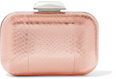 Jimmy Choo Cloud Embellished Metallic Elaphe Clutch - Pink