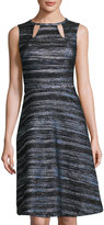 Nicole Miller Crewneck Fit-and-Flare Dress, Black Multi