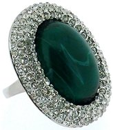 Kenneth Jay Lane Swarovski Crystal & Emerald Green Opal Stone Oval Ring