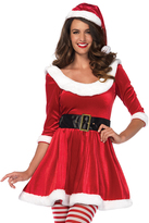 Leg Avenue Red & White Velvet Belted Dress Set - Plus Too