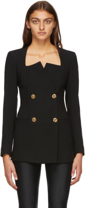Versace Black Square Collar Double-Breasted Blazer