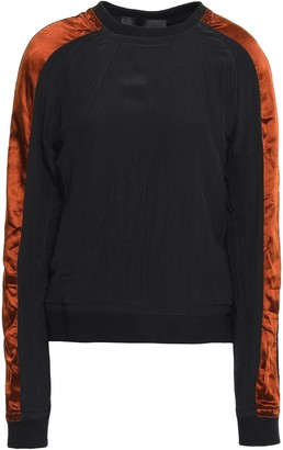 Haider Ackermann Velvet-trimmed Washed-silk Top
