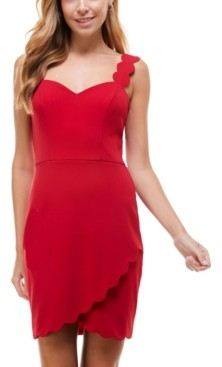 City Studios Juniors' Sweetheart-Neck Scalloped Bodycon Dress