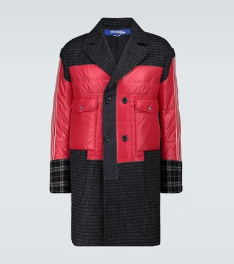 Junya Watanabe Nylon and wool patchwork coat