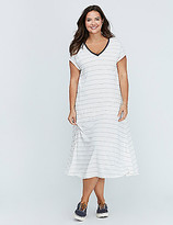 C&C California Striped Deep V Maxi Dress