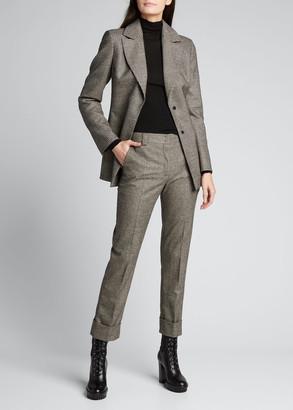 Akris Maxima Plaid Wool Cuffed Pants
