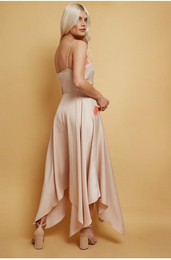 Thumbnail for your product : Little Mistress Elis Champagne Satin Lace-Trim Midaxi Dress