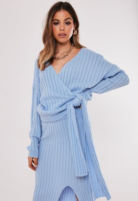 Missguided Blue Co Ord Wrap Tie Knitted Jumper