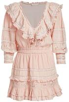 LoveShackFancy Deacon Eyelet-Trim Puff-Sleeve Ruffle Linen Mini Dress
