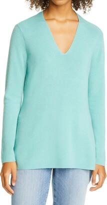 Eileen Fisher V-Neck Silk Tunic Top