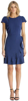 Karl Lagerfeld Paris Pinstripe Fit and Flare with Flounce Hem