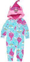 AME Sleepwear Trolls Poppy Girls Hooded Fleece Union Suit Pajamas