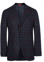 Isaia Blue Slim-Fit Checked Wool and Cashmere-Blend Blazer