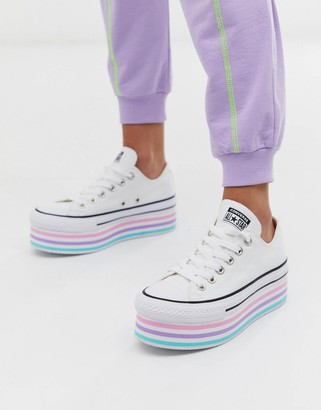 Converse chuck taylor all star super platform layer white sneakers